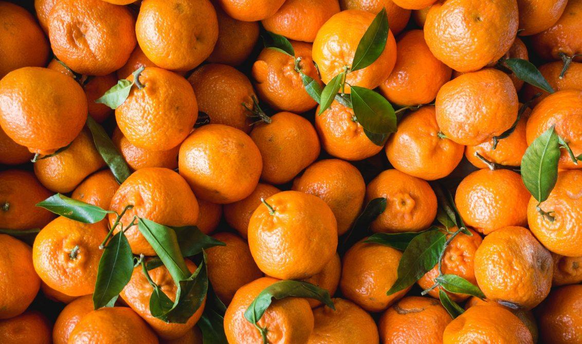 Tangerines on a market